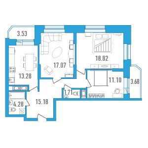 Планировка Трёхкомнатная квартира площадью 85.03 кв.м в ЖК «Медалист»
