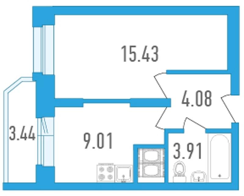 Планировка Однокомнатная квартира площадью 34.15 кв.м в ЖК «Медалист»