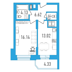 Планировка Однокомнатная квартира площадью 43.71 кв.м в ЖК «Медалист»