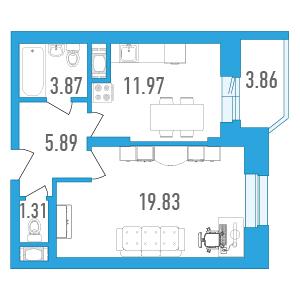 Планировка Однокомнатная квартира площадью 44.8 кв.м в ЖК «Медалист»