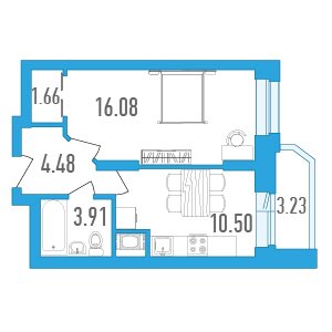 Планировка Однокомнатная квартира площадью 38.24 кв.м в ЖК «Медалист»