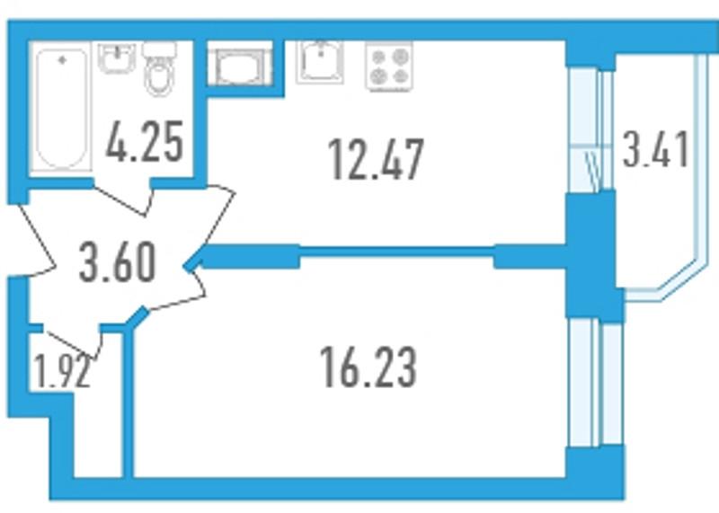 Планировка Однокомнатная квартира площадью 40.17 кв.м в ЖК «Медалист»
