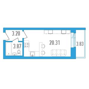 Планировка Однокомнатная квартира площадью 29.29 кв.м в ЖК «Медалист»