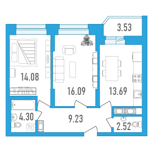 Планировка Двухкомнатная квартира площадью 61.67 кв.м в ЖК «Медалист»