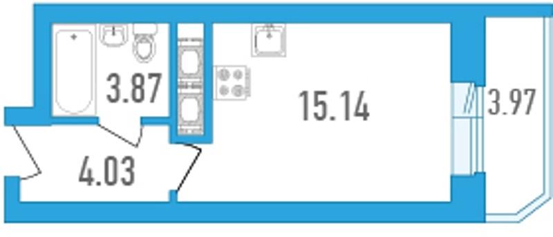 Планировка Студия площадью 25.02 кв.м в ЖК «Медалист»