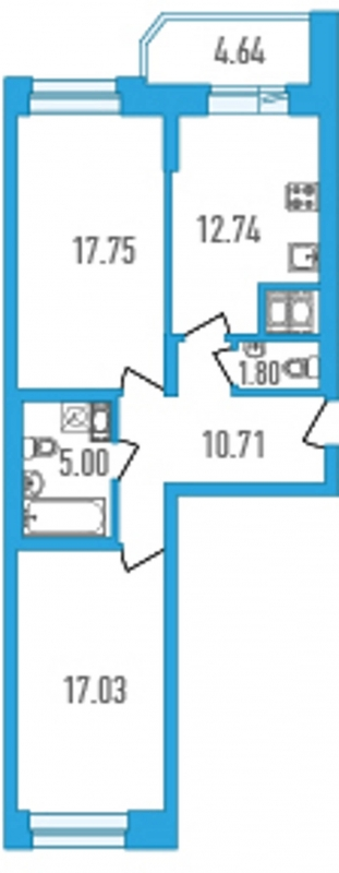 Планировка Двухкомнатная квартира площадью 67.35 кв.м в ЖК «Медалист»