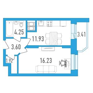 Планировка Однокомнатная квартира площадью 39.63 кв.м в ЖК «Медалист»