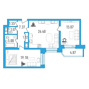 Планировка Двухкомнатная квартира площадью 80.09 кв.м в ЖК «Медалист»